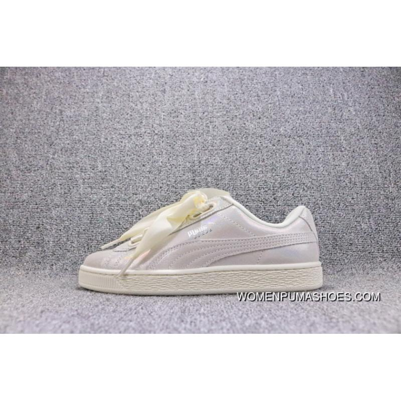 on sale bf406 a66b1 Latest Puma Basket Heart Patent Being Rihanna Pearl Milk White Bow Ribbon  White Sneaker 364108-02