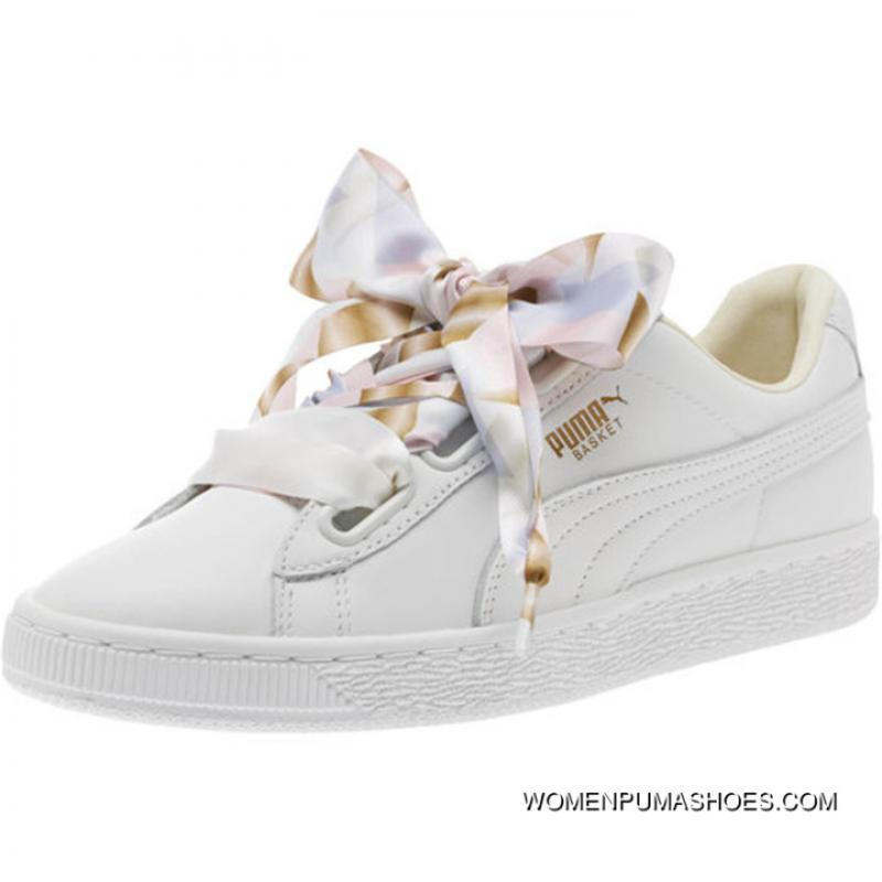 Outlet Puma Basket Heart Bow White Gold Camo Ribbon 365673 01