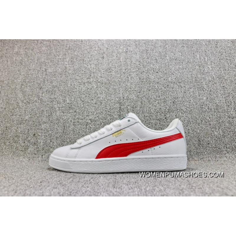 99d9969a Puma Basket Classic Casual Retro Sneakers FULL GRAIN LEATHER White Red  Women Shoes And Men Shoes 354367-24 Top Deals