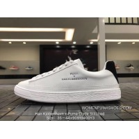 Discount Puma Han Kjobenhavn X Clyde Stitched Clyde Gold Tongue Series Retro All-match Sneakers All White Light Blue Tail Distribution Of Hard Box 364474-02 Upgrade All FULL GRAIN LEATHER Goat Danish High Street Brand Collaboration 9