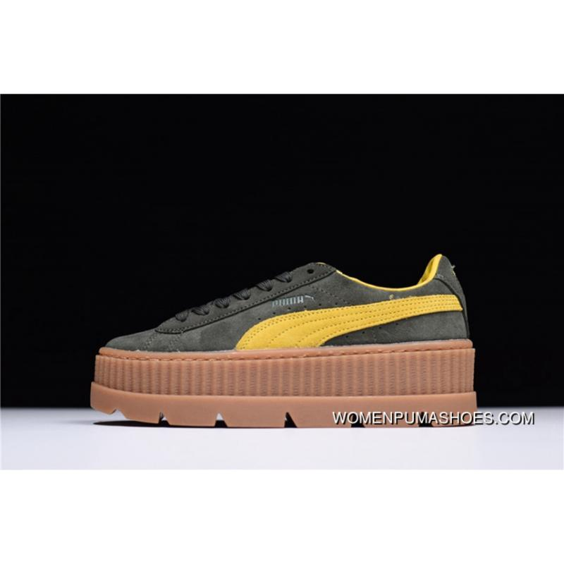 brand new d3197 422f2 HyxRihanna X Puma Fenty Suede Cleated Creeper Super Flatform Sneakers Green  Yellow The 366267-01 Discount