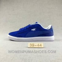 Puma Men Leisure Sneaker Md Outsole Pig Leather Ocean Blue Free Shipping SPa62