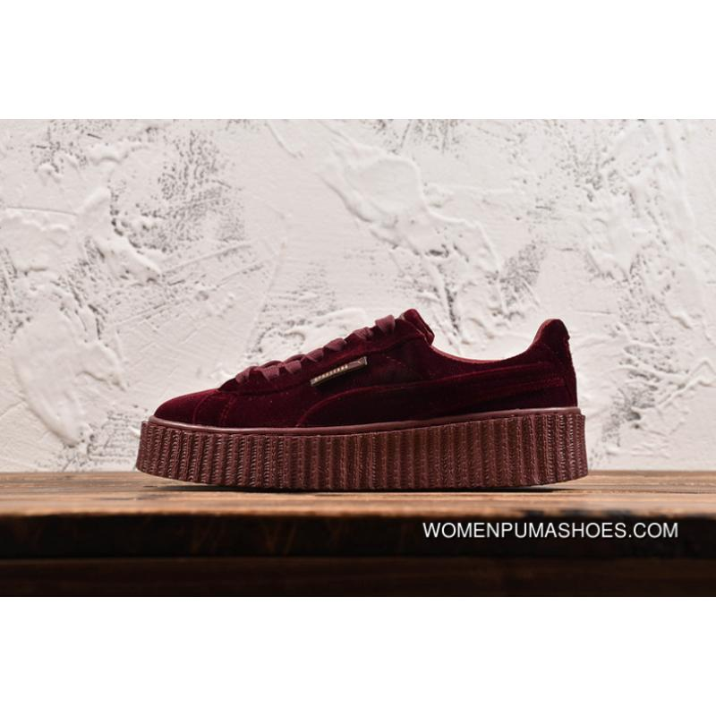 wholesale dealer edea9 a8a3a PUMA Rihanna Wine Red Velvet Height Increasing Flatform Shoes Casual  Sneaker 364466-02 Discount