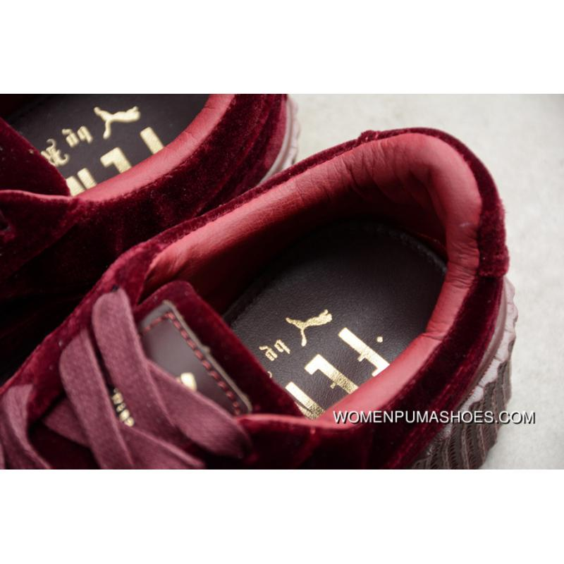 innovative design 15ca8 0807f R24 Puma Rihanna Original Wine Red Velvet Height Increasing Flatform Shoes  Casual Sneaker 364466-02 New Year Deals