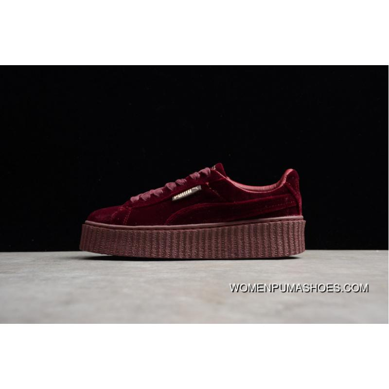 huge discount 243eb 466d8 New Style Puma Rihanna Original Wine Red Velvet Height Increasing Flatform  Shoes Casual Sneaker In 364466-02 14 TR SIZE14