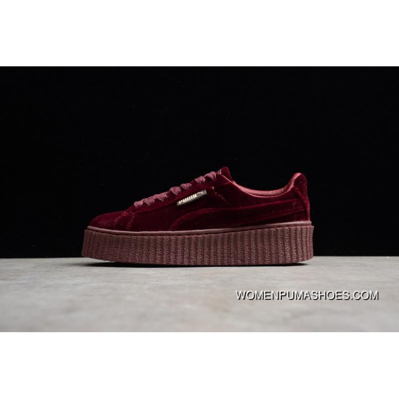 info for 935f7 b0516 Outlet Early 240 Puma Rihanna Generation Wine Red Velvet Height Increasing  Flatform Shoes Casual Sneaker 364466-02