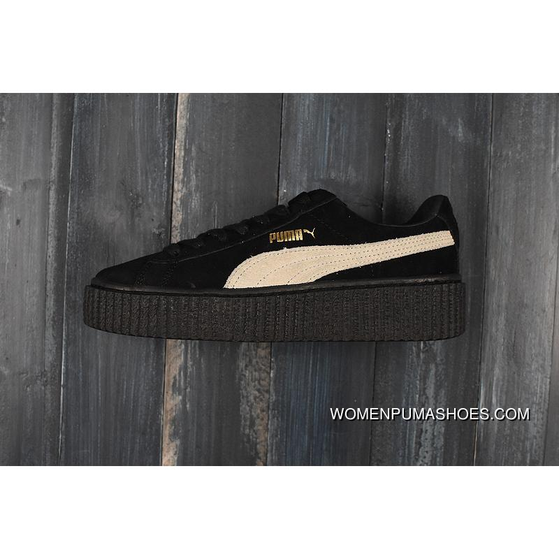 promo code 27e8c 21119 New Style Puma Rihanna Original Suede Creepers-Flatform Shoes Black White  361005-01