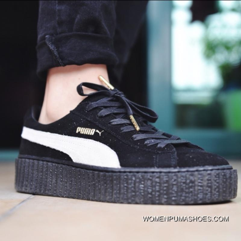 sale retailer 67987 2b806 Puma Rihanna All Pig Leather Size Black White WMNS Creeper Collaboration  Shoes Paragraph Women And Men New Release