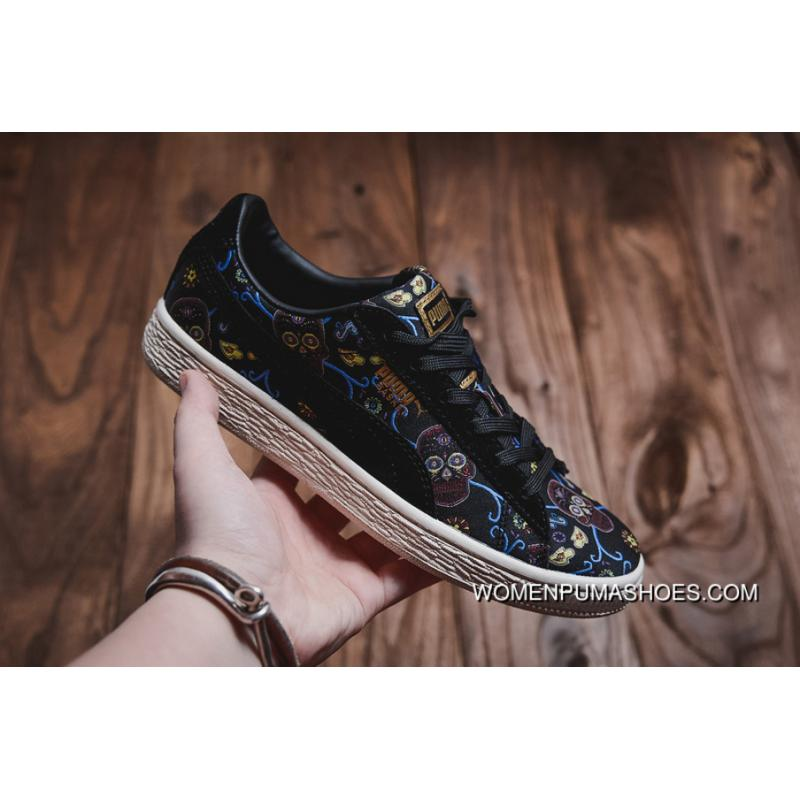 sports shoes 3d75c b0c86 Puma Platform Dotd Skull Embroidery Sneakers 364783-01 Free Shipping