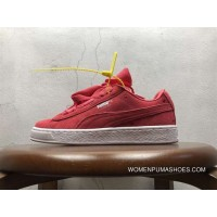 Free Shipping Puma Suede Heart Valentine Valentines Day Peach Red Bow Perfect Love Heart Peach Electronic Embroidery 365135-01