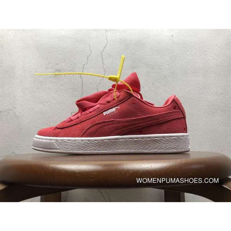 48742a1e76e5f Free Shipping Puma Suede Heart Valentine Valentines Day Peach Red Bow  Perfect Love Heart Peach Electronic Embroidery 365135-01
