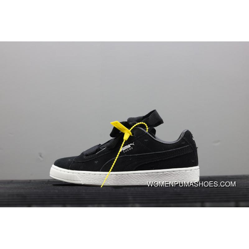 sports shoes f8c5e 3fd14 Puma Suede Heart Valentine Jr Black White Limited Bow Ribbon Sneakers  365135-02 New Year Deals