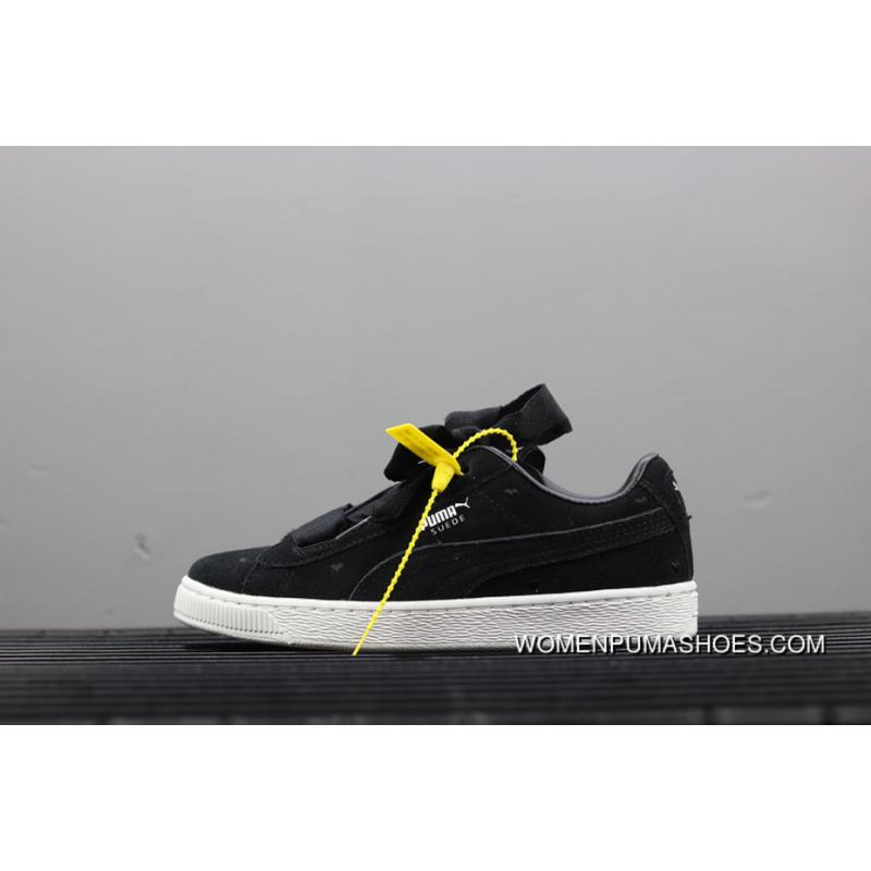 17b8ce9bee763 Puma Suede Heart Valentine Jr Black White Limited Bow Ribbon Sneakers  365135-02 New Year Deals