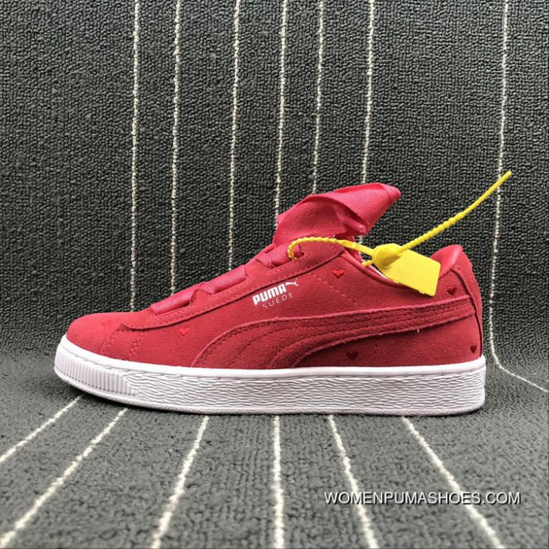 buy popular 336ad fbcc2 Puma SUEDE Heart Valentine Suede Ribbon Bow Sneakers 365135-01 Size New  Release