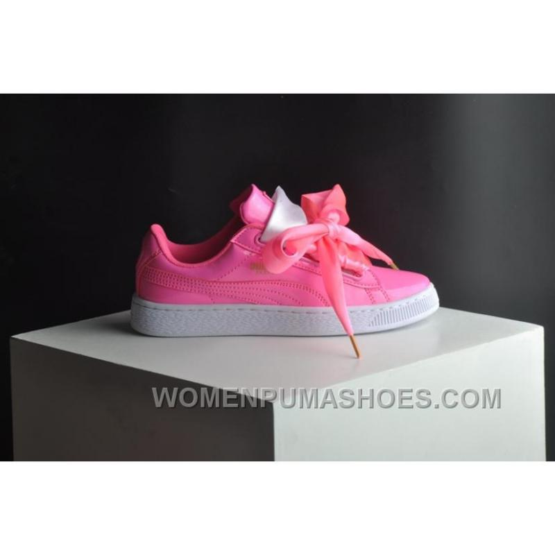 check out c206c 1a00a PUMA Suede Basket Heart Patent Women 36-40 Pink Girls Shoes For Sale W2MYJYc