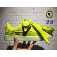 PUMA Valentine's Day Jelly Color Bow Tie Suede Heart Apple Green New Style 7iDbdys
