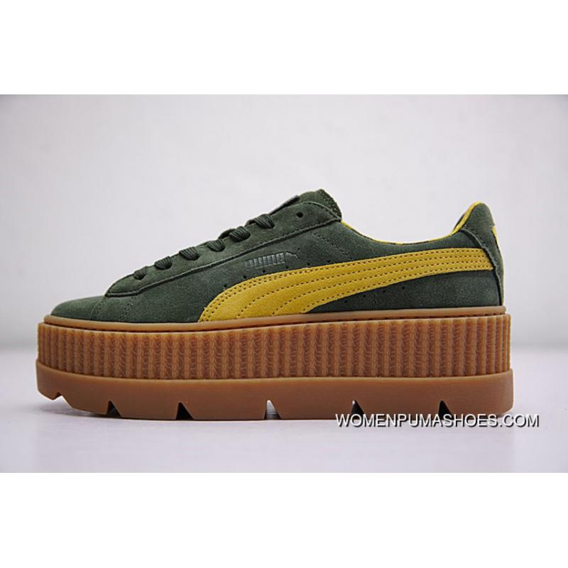 huge discount a189c 22c4b Rihanna X Puma Fenty Suede Cleated Creeper 366267-03 GREEN New Release