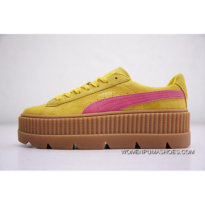 finest selection 987b4 b516c Rihanna X Puma Fenty Suede Cleated Creeper 366267-03 YELLOW PINK Super Deals