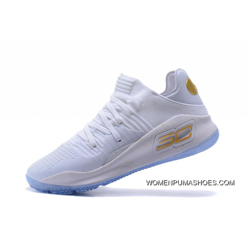 new arrival 7a359 98346 Under Armour Curry 4 Low White/Metallic Gold Men's Size Basketball Shoes  New Release