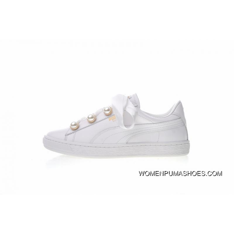 c34baa7e Women Shoes All FULL GRAIN LEATHER Making Puma Basket Bling Pearl Bow  Ribbon All-match Women Sneakers God All White Gold Tongue 366732-01 For Sale