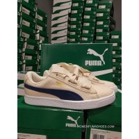 Discount Puma Basket Heart Wave Point Ribbon Bow Women Shoes 363371-03 Rice Yellow
