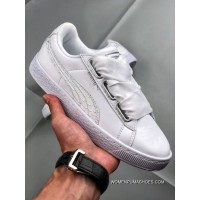 PUMA Basket Heart Oceanaire Bow White Siliver Ribbon Women Sport Sneakers Casual Shoes SKU 366443-02 Size Outlet