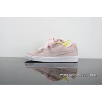 New Release Puma Suede Heart Valentine Peach Red Bow Heart Valentines Day Ribbon Sneakers Perfect Love Heart Of 365135-03 Peach Electronic Embroidery On Foot For The Participants In God