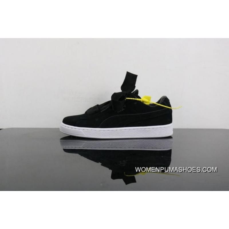 online store 9c413 30e5a Super Deals Puma Suede Bow Heart A Heart Of Valentine Valentines Day Ribbon  Sneakers In 365135-02 Women Shoes All Black