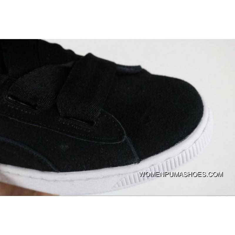 online store d37a1 881dd Super Deals Puma Suede Bow Heart A Heart Of Valentine Valentines Day Ribbon  Sneakers In 365135-02 Women Shoes All Black