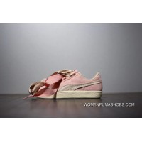 Fewer Women Series Women Shoes Puma Suede Heart Bow Sneakers Series Light Pink Silk Size New Release