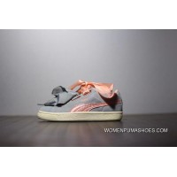 Fewer Women Series Women Shoes Puma Suede Heart Bow Sneakers Series Grey Pink Silk Size Super Deals