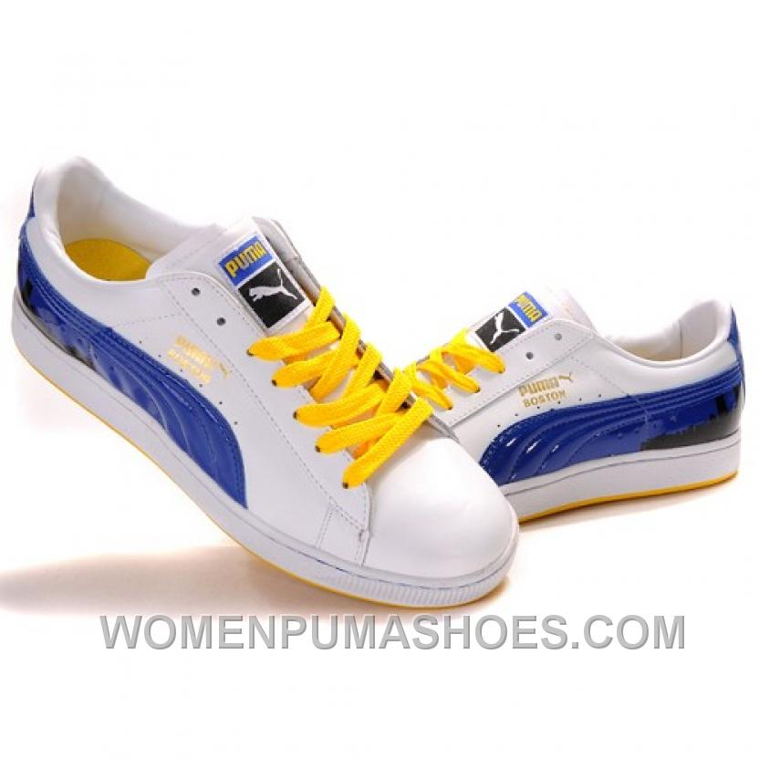 Puma Suede Fat Lace In White-Blue-Yellow Discount D2hGr bc92ff628