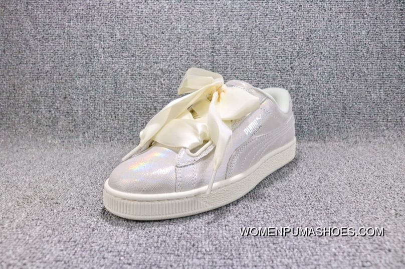 on sale 22aa7 93706 Latest Puma Basket Heart Patent Being Rihanna Pearl Milk White Bow Ribbon  White Sneaker 364108-02