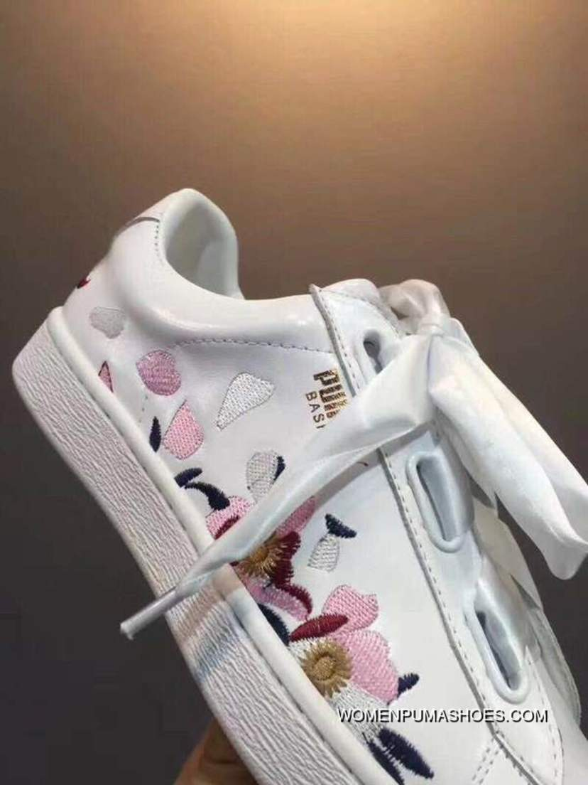 cheaper 80e2e c26db Puma Basket Heart Explosive Bow All-match Sneakers White Flowers Petal Size  Copuon