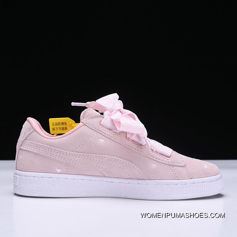 innovative design b62ee 0e288 Free Shipping Puma Suede Heart Valentine Love Heart Pink Suede Ribbon Bow  Sneakers 365135-03 Pink