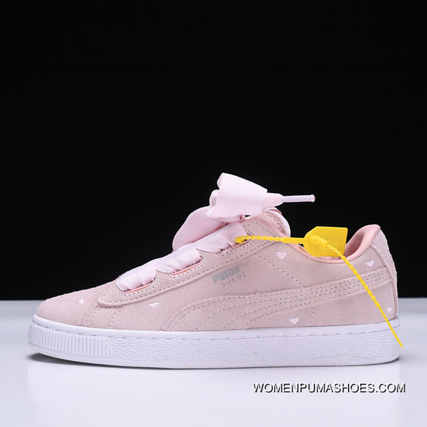 innovative design e6f20 74702 Free Shipping Puma Suede Heart Valentine Love Heart Pink Suede Ribbon Bow  Sneakers 365135-03 Pink