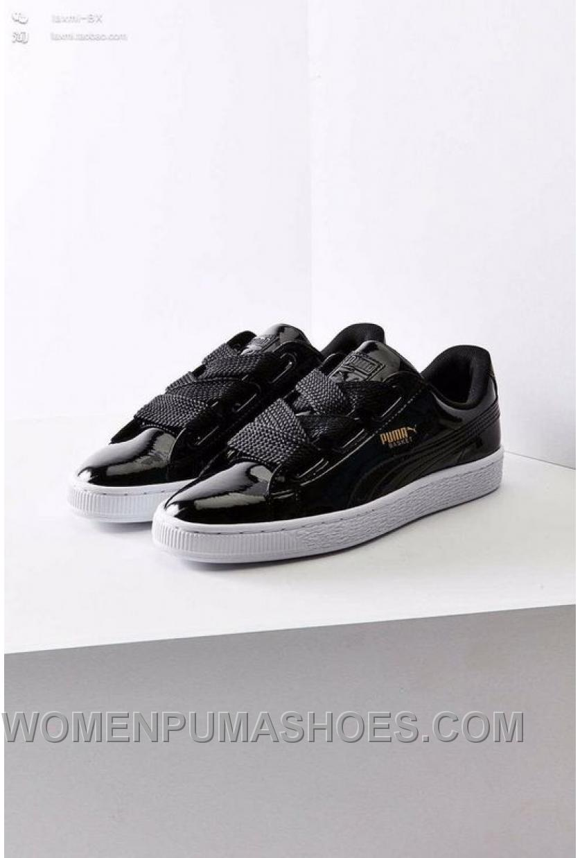 wholesale dealer 435bb b0fbc Puma Suede Heart Patent Donna Scarpe Black White Women Super Deals