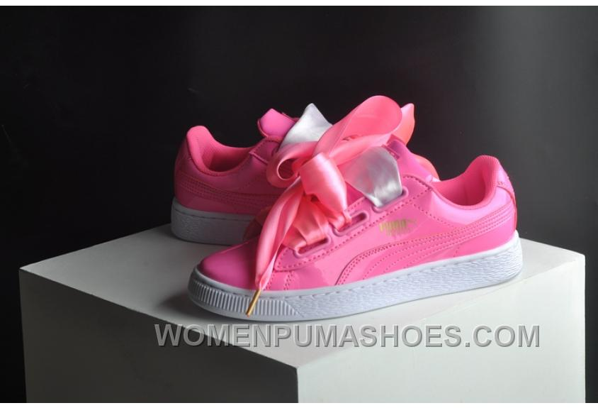 check out aaafa ddc0b PUMA Suede Basket Heart Patent Women 36-40 Pink Girls Shoes For Sale W2MYJYc