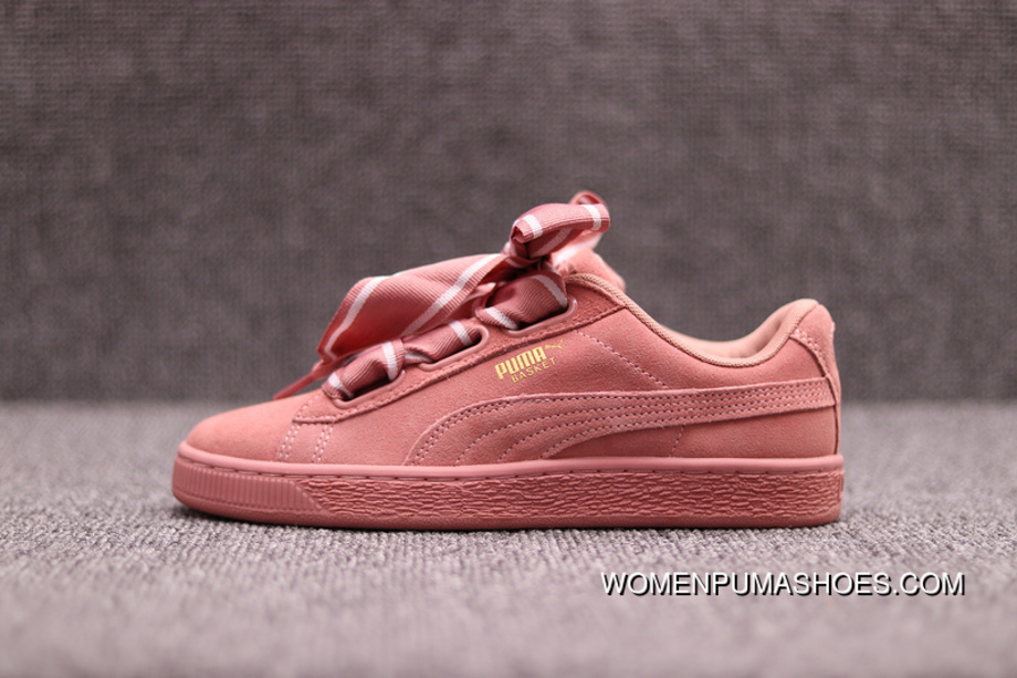 lowest price 4fe89 22fb2 PUMA Suede Heart Bind Silk Satin II The Bow Against Fur 364084-03 Pink Red  Bean Paste Top Deals