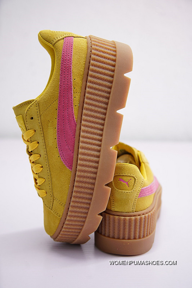 finest selection 33c91 ff00d Rihanna X Puma Fenty Suede Cleated Creeper 366267-03 YELLOW PINK Super Deals