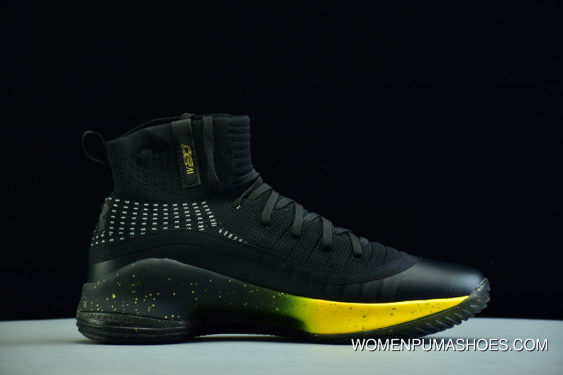 12204599745 Under Armour Ua Curry 4 Black Yellow Men s Basketball Shoes Top Deals