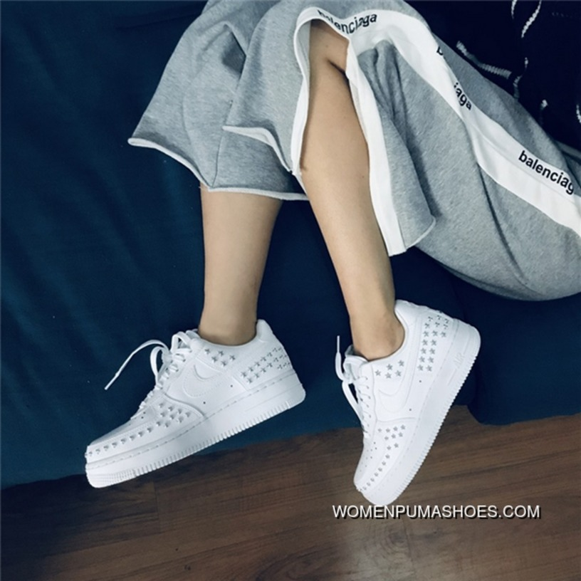 Nike Air Force One 07 XX Rivet Star White AR0639 100 Women Shoes New Style