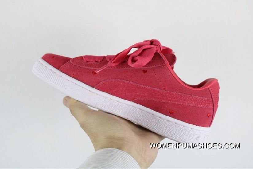 timeless design a18b4 2e3df Copuon Puma Suede Heart Valentine Peach Red Bow Heart Valentines Day Ribbon  Sneakers 365135-01 Perfect Love Heart Peach Electronic Embroidery On Foot  ...